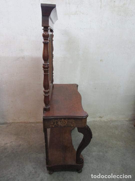 Antigüedades: Bonita Consola Isabelina - Madera Jacarandá, Caoba y Marquetería - Espejo Plateado Antiguo - S. XIX - Foto 14 - 210678411