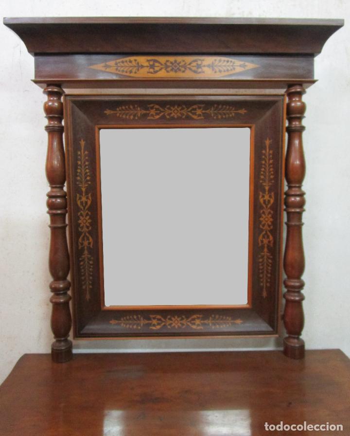 Antigüedades: Bonita Consola Isabelina - Madera Jacarandá, Caoba y Marquetería - Espejo Plateado Antiguo - S. XIX - Foto 16 - 210678411