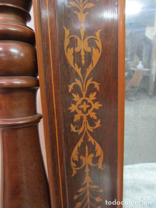 Antigüedades: Bonita Consola Isabelina - Madera Jacarandá, Caoba y Marquetería - Espejo Plateado Antiguo - S. XIX - Foto 18 - 210678411