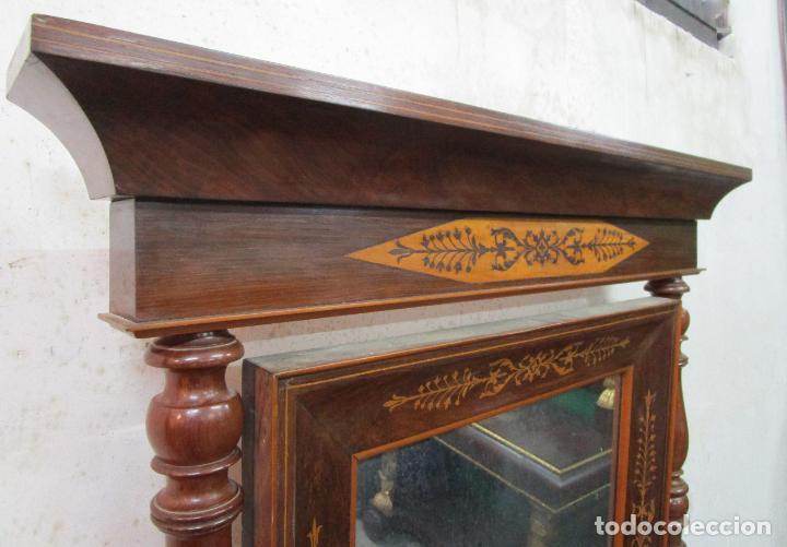 Antigüedades: Bonita Consola Isabelina - Madera Jacarandá, Caoba y Marquetería - Espejo Plateado Antiguo - S. XIX - Foto 20 - 210678411