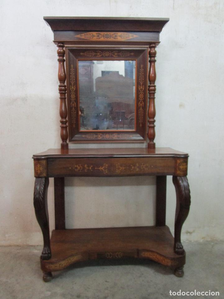 Antigüedades: Bonita Consola Isabelina - Madera Jacarandá, Caoba y Marquetería - Espejo Plateado Antiguo - S. XIX - Foto 21 - 210678411