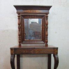 Antigüedades: BONITA CONSOLA ISABELINA - MADERA JACARANDÁ, CAOBA Y MARQUETERÍA - ESPEJO PLATEADO ANTIGUO - S. XIX. Lote 210678411