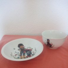 Antigüedades: BONITA VAJILLA INFANTIL DE PORCELANA WINTERLING ROSLAU BAVARIA GERMANY,PLATO Y BOL. Lote 210713366