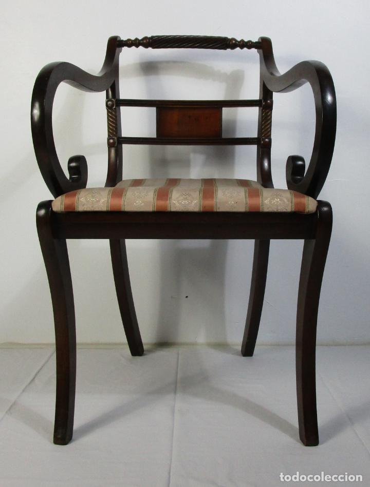 Antigüedades: Sillones Estilo Regency Ingles - Madera de Caoba - Tapicería Perfecta - S. XIX - Foto 2 - 210725272