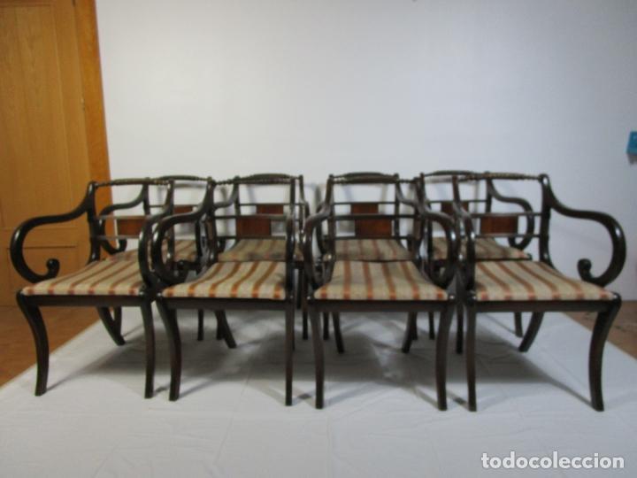 Antigüedades: Sillones Estilo Regency Ingles - Madera de Caoba - Tapicería Perfecta - S. XIX - Foto 6 - 210725272