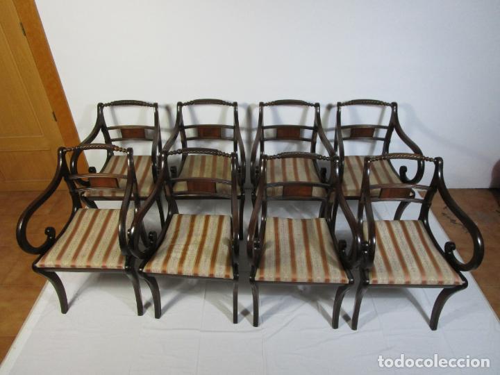 Antigüedades: Sillones Estilo Regency Ingles - Madera de Caoba - Tapicería Perfecta - S. XIX - Foto 7 - 210725272