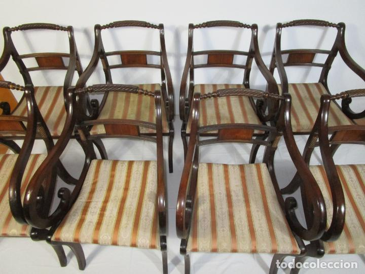 Antigüedades: Sillones Estilo Regency Ingles - Madera de Caoba - Tapicería Perfecta - S. XIX - Foto 8 - 210725272