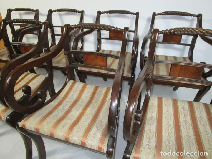 Antigüedades: Sillones Estilo Regency Ingles - Madera de Caoba - Tapicería Perfecta - S. XIX - Foto 9 - 210725272