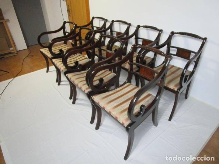 Antigüedades: Sillones Estilo Regency Ingles - Madera de Caoba - Tapicería Perfecta - S. XIX - Foto 10 - 210725272