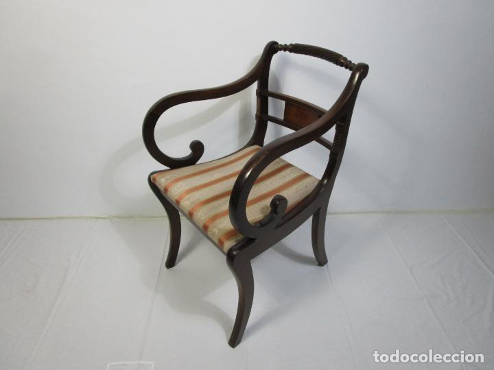 Antigüedades: Sillones Estilo Regency Ingles - Madera de Caoba - Tapicería Perfecta - S. XIX - Foto 11 - 210725272
