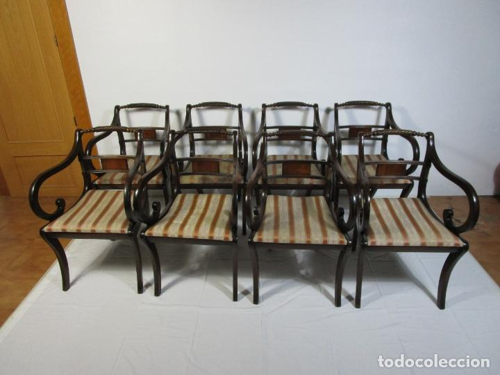 Antigüedades: Sillones Estilo Regency Ingles - Madera de Caoba - Tapicería Perfecta - S. XIX - Foto 20 - 210725272