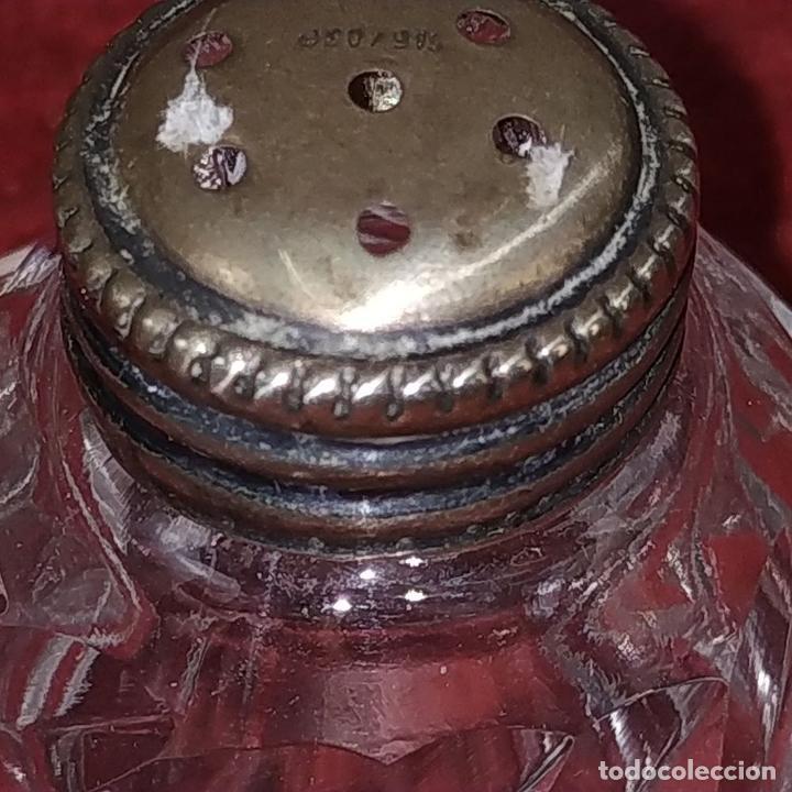Antigüedades: CONJUNTO DE 4 SALEROS EN CRISTAL TALLADO Y PLATA 915/1000. ESPAÑA. CIRCA 1950 - Foto 7 - 210738609