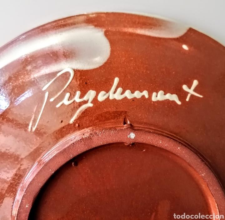 Antigüedades: Plato Ceramico firmado Puigdemont - Etnico en verde·y azul - Foto 5 - 210752810