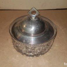 Antigüedades: FRASCO DE CRISTAL CON TAPA METÁLICA. Lote 210770737