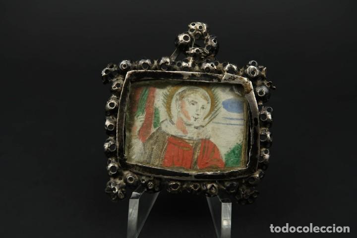ANTIGUO RELICARIO DE PLATA SIGLO XVIII (Antigüedades - Religiosas - Relicarios y Custodias)