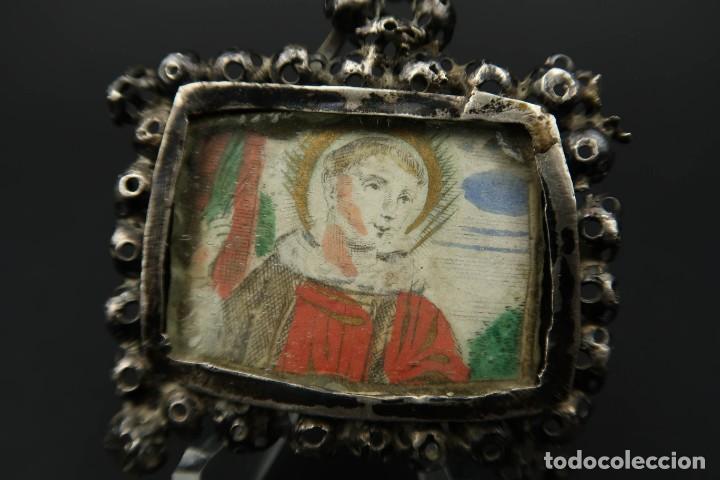 Antigüedades: Antiguo Relicario de Plata Siglo XVIII - Foto 2 - 210784750