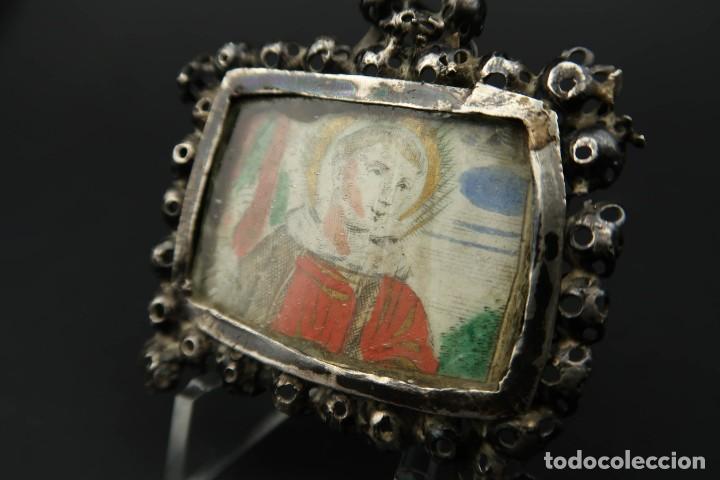 Antigüedades: Antiguo Relicario de Plata Siglo XVIII - Foto 3 - 210784750
