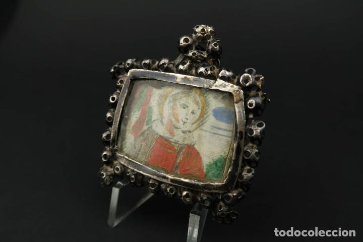 Antigüedades: Antiguo Relicario de Plata Siglo XVIII - Foto 4 - 210784750