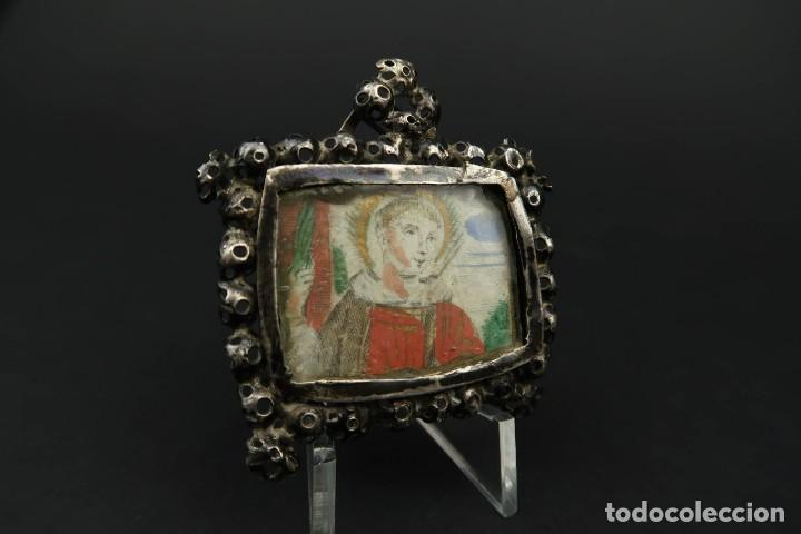Antigüedades: Antiguo Relicario de Plata Siglo XVIII - Foto 5 - 210784750