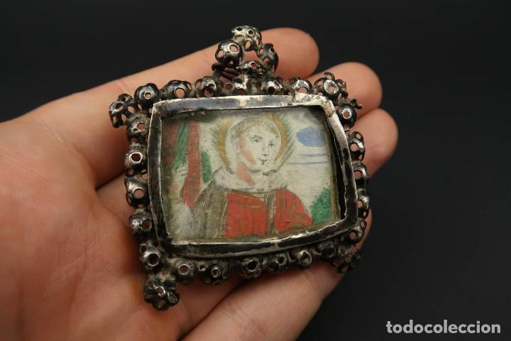 Antigüedades: Antiguo Relicario de Plata Siglo XVIII - Foto 7 - 210784750