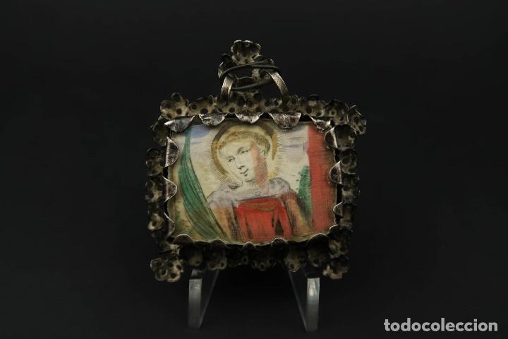 Antigüedades: Antiguo Relicario de Plata Siglo XVIII - Foto 8 - 210784750