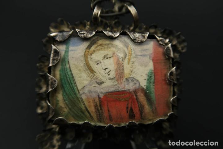 Antigüedades: Antiguo Relicario de Plata Siglo XVIII - Foto 10 - 210784750