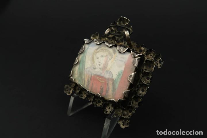 Antigüedades: Antiguo Relicario de Plata Siglo XVIII - Foto 11 - 210784750