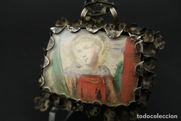Antigüedades: Antiguo Relicario de Plata Siglo XVIII - Foto 13 - 210784750