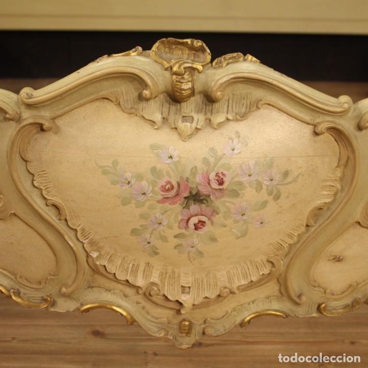 Antigüedades: Cama doble veneciana lacada, dorada y pintada - Foto 5 - 210810127