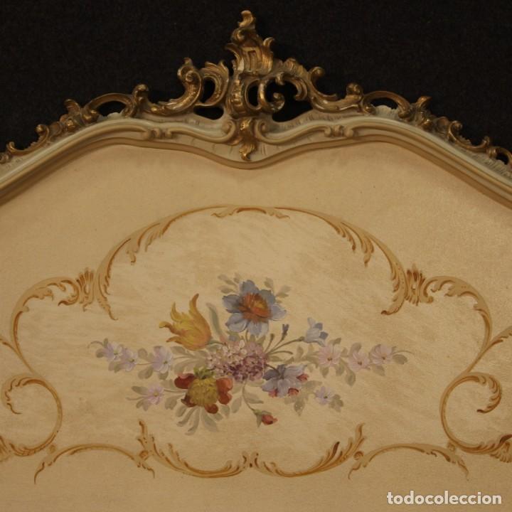 Antigüedades: Cama doble veneciana lacada, dorada y pintada - Foto 7 - 210810127