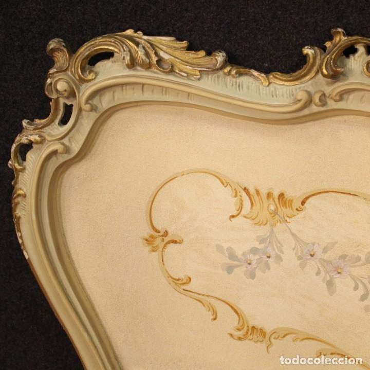 Antigüedades: Cama doble veneciana lacada, dorada y pintada - Foto 8 - 210810127