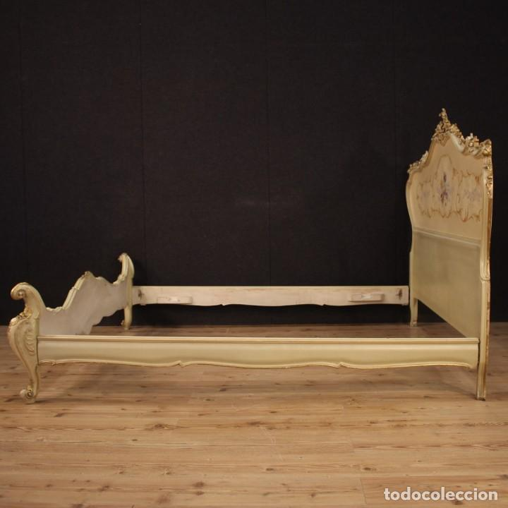 Antigüedades: Cama doble veneciana lacada, dorada y pintada - Foto 10 - 210810127
