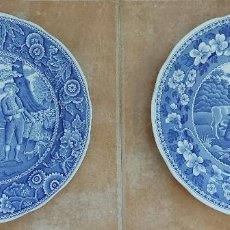 Antigüedades: PLATO 'WOODMAN' Y 'MILKMAID' THE SPODE BLUE ROOM COLLECTION. Lote 210812554