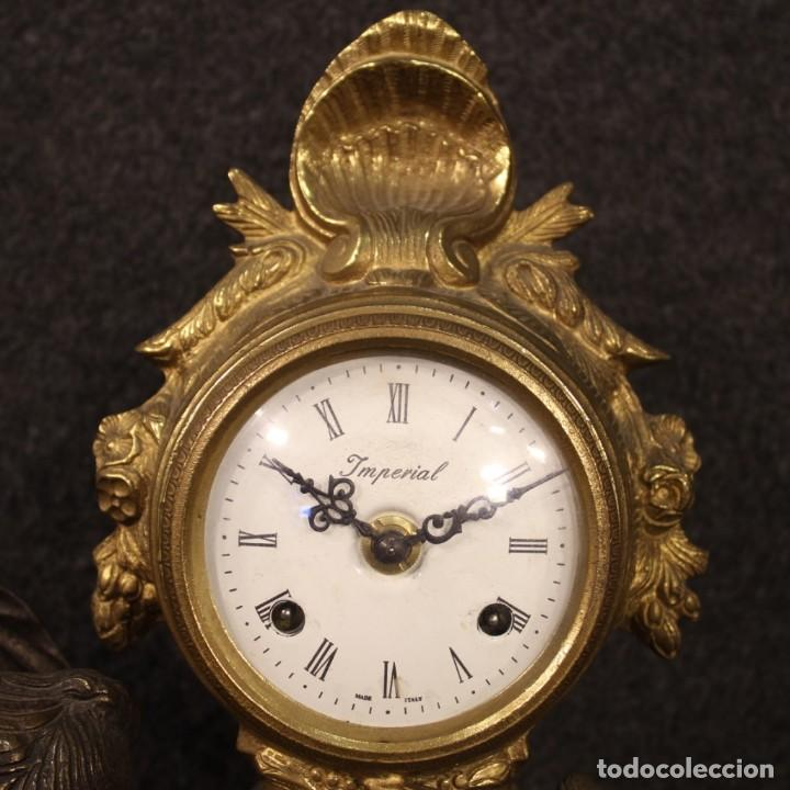 Antigüedades: Reloj francés en bronce y antimonio dorado - Foto 3 - 210817396