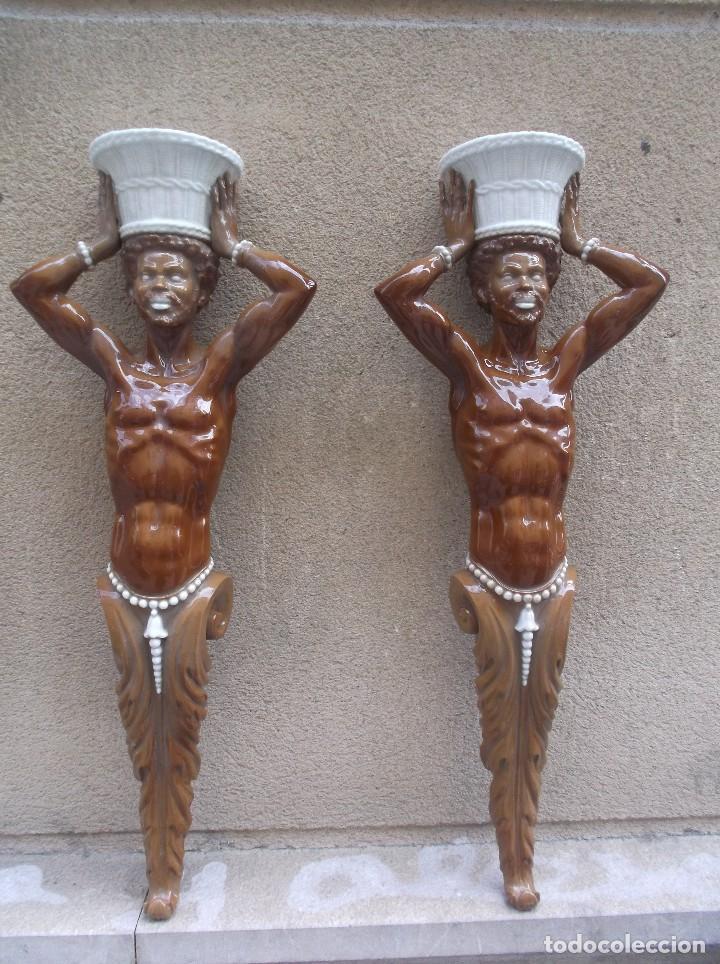PAREJA DE APLIQUES DE ALGORA (Antigüedades - Porcelanas y Cerámicas - Algora)