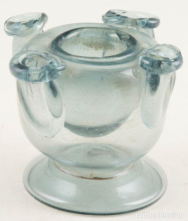 TINTERO DE VIDRIO SOPLADO. CATALUÑA. SIGLO XVIII. 8,5 X 8 X 8 CM. OBRA MUY CURIOSA (Antigüedades - Cristal y Vidrio - Catalán)