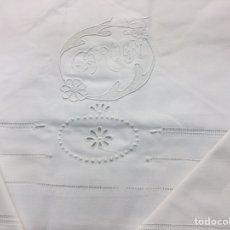 Antigüedades: JUEGO DE SÁBANAS MATRIMONIO ALGODÓN BORDADO CARMEB. Lote 210947279