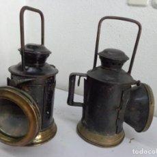 Antigüedades: PAREJA DE 2 MUY ANTIGUOS FAROLES DE FINALES DE 1800 DE ACEITE, COMPLETOS Y MUY BUEN ESTADO. Lote 210947971