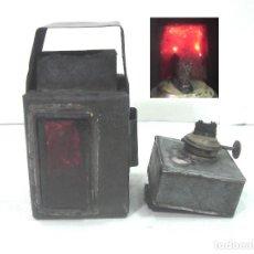 Antigüedades: MUY ANTIGUA LINTERNA SEÑALIZADORA DE ACEITE - SIGLO XIX - SEÑALES FAROL CANDIL LAMPARA QUEROSENO. Lote 210956536