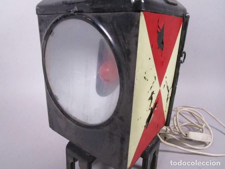 Antigüedades: antigua rara escasa lámpara de tren ferrocarril, trasera, eléctrico. aprox. 50 cm altura - Foto 2 - 210962986