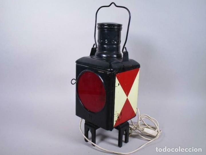 Antigüedades: antigua rara escasa lámpara de tren ferrocarril, trasera, eléctrico. aprox. 50 cm altura - Foto 5 - 210962986