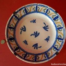 Antigüedades: GRAN PLATO DE FAJALAUZA CON ENGARCE DE EPOCA - S. XIX. Lote 210964460