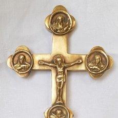 Antigüedades: CRUZ DE BENDICION ORTODOXA CON 4 ICONOS COMPARTIMIENTO SECRETO PARA RELIQUIA 21,5 CM CRUCIFIJO JESUS. Lote 210969975