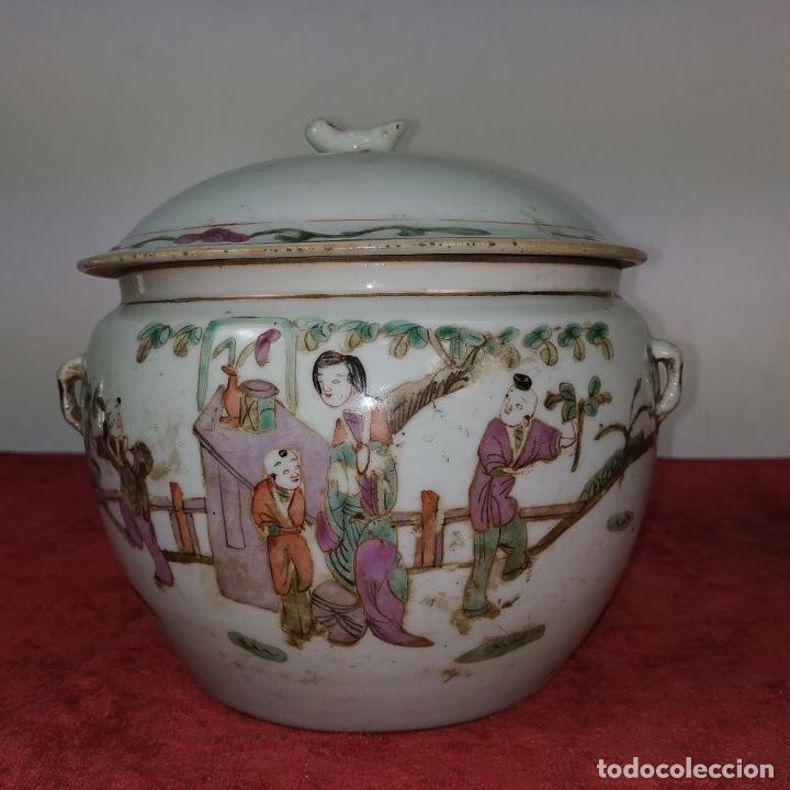 Antigüedades: 2 SOPERAS KAMCHENG. FAMILIA ROSA Y FAMILIA VERDE. PORCELANA. CHINA. FIN SIGLO XIX - Foto 6 - 211389007