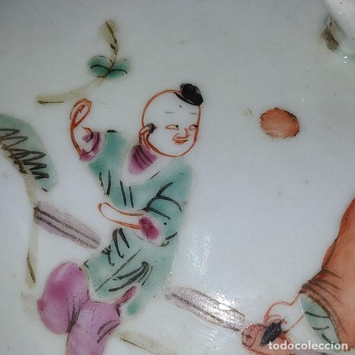 Antigüedades: 2 SOPERAS KAMCHENG. FAMILIA ROSA Y FAMILIA VERDE. PORCELANA. CHINA. FIN SIGLO XIX - Foto 16 - 211389007