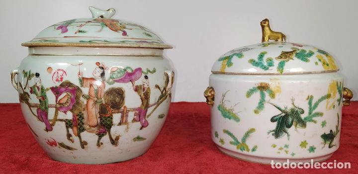 2 SOPERAS KAMCHENG. FAMILIA ROSA Y FAMILIA VERDE. PORCELANA. CHINA. FIN SIGLO XIX (Antigüedades - Porcelanas y Cerámicas - China)