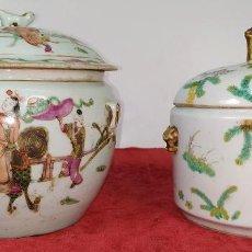 Antigüedades: 2 SOPERAS KAMCHENG. FAMILIA ROSA Y FAMILIA VERDE. PORCELANA. CHINA. FIN SIGLO XIX. Lote 211389007
