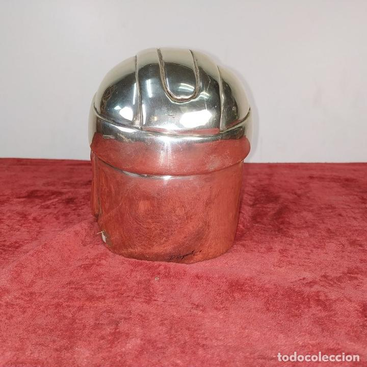 Antigüedades: CABEZA OLMECA. METAL CHAPADO EN PLATA. RESINA. CON MARCAS DARGENTI. MEXICO. SIGLO XX - Foto 6 - 211392175