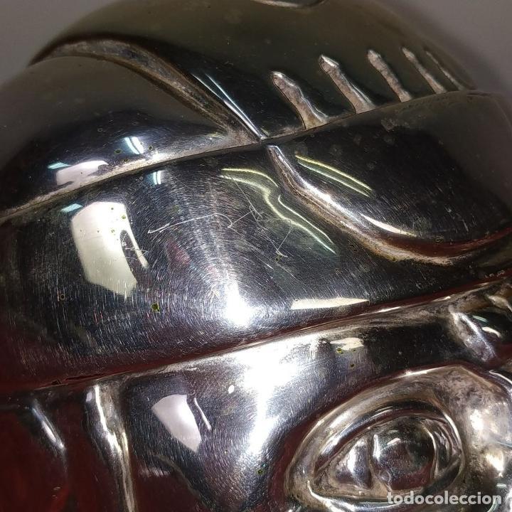 Antigüedades: CABEZA OLMECA. METAL CHAPADO EN PLATA. RESINA. CON MARCAS DARGENTI. MEXICO. SIGLO XX - Foto 9 - 211392175