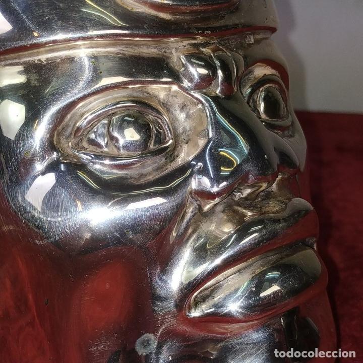 Antigüedades: CABEZA OLMECA. METAL CHAPADO EN PLATA. RESINA. CON MARCAS DARGENTI. MEXICO. SIGLO XX - Foto 10 - 211392175